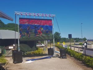 Ook de kwart finale WK vrouwen 2019 was te volgen tijden de sleep pauze op het ledscherm